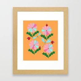 Spring Damselflies, Lady Bugs and Daisies Framed Art Print