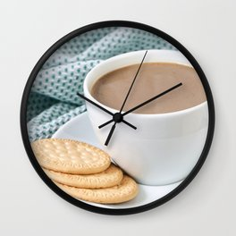 Coffee with milk and cookies Wall Clock
