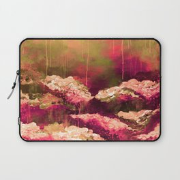 IT'S A ROSE COLORED LIFE 2 - Colorful Floral Garden Chic Abstract Pink White Olive Green Painting Laptop Sleeve