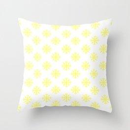 Snowflakes (Light Yellow & White Pattern) Throw Pillow