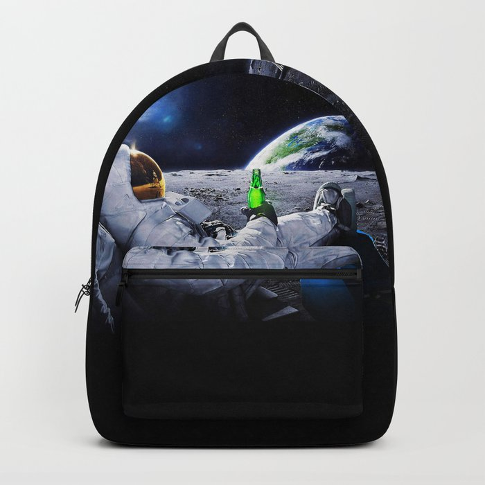 Astronaut on the Moon with beer Backpack