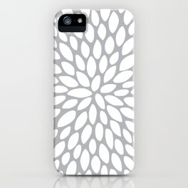 Flower Petal Pattern, Charcoal and White iPhone Case