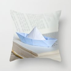 Little paper boat Throw Pillow