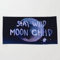 Stay wild moon child (purple) Beach Towel