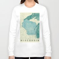 wisconsin Long Sleeve T-shirts featuring Wisconsin State Map Blue Vintage by City Art Posters