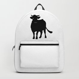 Cow Black Silhouette Milk Pet Animal Cool Style Backpack