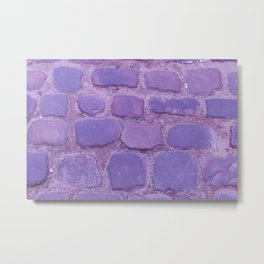 Ultra Violet Texture Ancient Cobblestone Roadway Close-up Metal Print