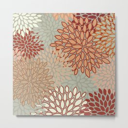 Floral Prints, Abstract Art, Sage Green, Coral, Terracotta, Red, Coloured Prints Metal Print
