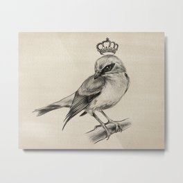 Bird Drawing | Nursery | Baby Room | Nature Art Metal Print