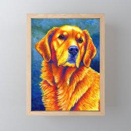 Faithful Friend - Colorful Golden Retriever Framed Mini Art Print