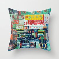 hong kong Throw Pillows featuring Hong Kong by Corrado Pizzi