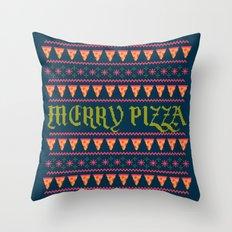 Merry Pizza Throw Pillow