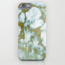 Gilded gold faux marble texture iPhone Case