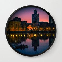 Night boating Wall Clock