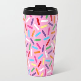 Pink Donut with Sprinkles Travel Mug