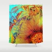 andreas preis Shower Curtains featuring Sunflower Abstract by Klara Acel