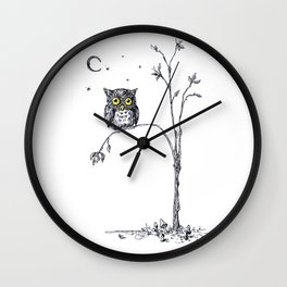 owl in the moonlight under the stars too big for his little tree Wall Clock