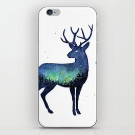 Galaxy Reindeer Silhouette with Northern Lights iPhone Skin