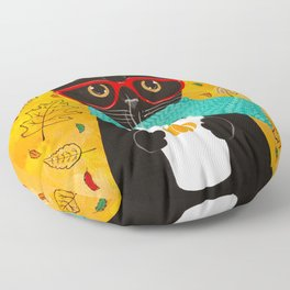 Autumn Black Coffee Cat Floor Pillow