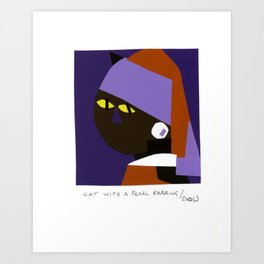 Cat with a pearl earring Art Print