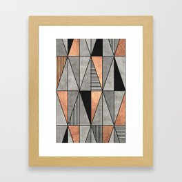 Concrete and Copper Triangles Framed Art Print