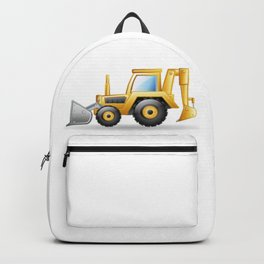 Yellow Excavating Tractor Icon Backpack