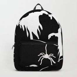 White Ghosts spider web Black background Backpack