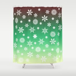 Snow Flurries-Green/Cream Ombre Shower Curtain