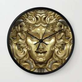 """Ancient Golden and Silver Medusa Myth"" Wall Clock"