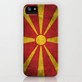 Old and Worn Distressed Vintage Flag of Macedonia iPhone Case