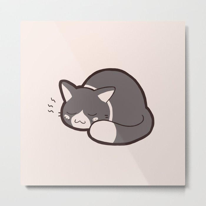 Sleepy Kitty Metal Print