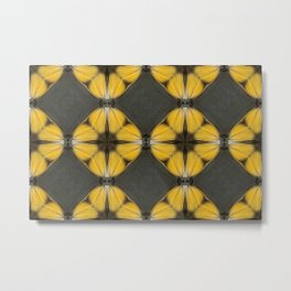 Yellow Butterfly Pattern Metal Print