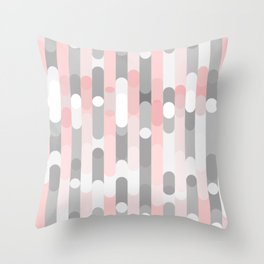 pink and gray round rectangle Throw Pillow