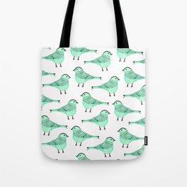 Cute modern green watercolor artistic birds pattern Tote Bag