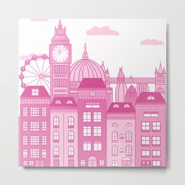 London Skyline Pink Metal Print