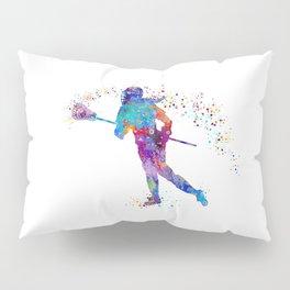 Girl Lacrosse Colorful Watercolor Sports Art Pillow Sham
