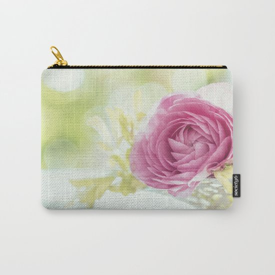 Princess like - Lightpink flower sparkling in silver bowl Still-life on #Society6 Carry-All Pouch