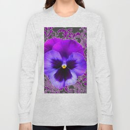 SPRING PURPLE PANSY FLOWER &  DELICATE PATTERN Long Sleeve T-shirt