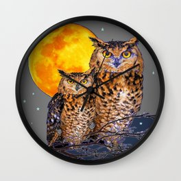 TWO OWLS IN FULL MOONSCAPE GREY NIGHT Wall Clock