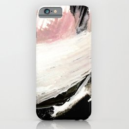 Crash: an abstract mixed media piece in black white and pink iPhone Case