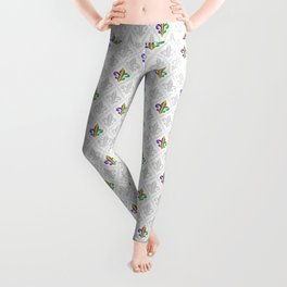 Purple Green and Gold Fleur-de-Lis on Gray Pattern Leggings