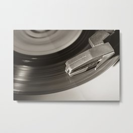 Music From a Vintage 45 RPM Record Playing on a Turntable 3 Metal Print