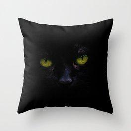 Black Cat Green Eyes Face (Color) Throw Pillow