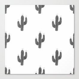Cactus bloom - bw Canvas Print