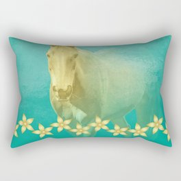 Golden ghost horse on teal Rectangular Pillow