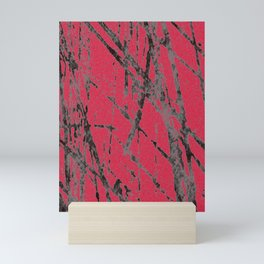 red black scratchy grunge Mini Art Print
