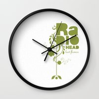 "radiohead Wall Clocks featuring Radiohead ""Last flowers"" Song / Green version by LilaVert"