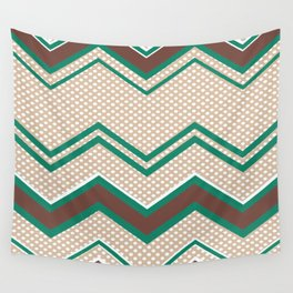 Ric-Rac-Dotty Mocha and Teal Wall Tapestry