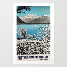 Montreaux Bernese Oberland Travel Poster Art Print