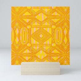 vintage kantha: orange & yellow Mini Art Print